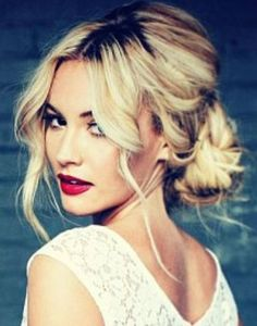 middle part low updo wedding hairstyle - Google Search
