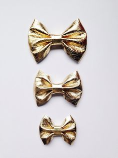 fc4506f4677 Metallic Gold Leather Bow on Elastic or Clip - Large