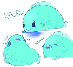 mattherjensen: THEY PUT BEE AND PUPPYCAT STICKERS ON FACEBOOK AND IM SO HAPPY THEY HAVE A WALLACE STICKER SO PLEASE HAVE DUMB DOODLES OF THIS DUMB CUTE CRYBABY FISH