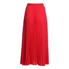 SheIn(sheinside) Red With Belt Chiffon Pleated Skirt ($14) ❤ liked on Polyvore featuring skirts, long chiffon skirt, party skirts, knee length pleated skirt, red pleated skirt and pleated skirt