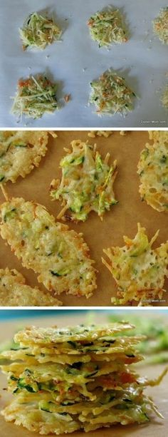 Parmesan Cheese Crisps laced with zucchini and carrot shreds - a low-carb, gluten-free snack recipe by (Cheese Snacks Weight Loss) Low Carb Recipes, Cooking Recipes, Healthy Recipes, Soup Recipes, Recipies, Clean Recipes, Potato Recipes, Casserole Recipes, Pasta Recipes