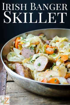 This easy one pan dinner is perfect for St. Irish Banger Sausages, red potatoes, carrots and cabbage round out this meal! Hp Sauce, Sausage Recipes, Pork Recipes, Cooking Recipes, Recipies, Pan Cooking, Skillet Cooking, Jamie Oliver, Irish Bangers