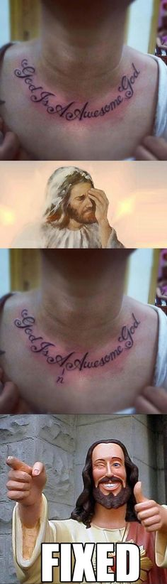 Funny pictures about Bad grammar is a sin. Oh, and cool pics about Bad grammar is a sin. Also, Bad grammar is a sin. Friday Funny Pictures, Epic Fail Pictures, Funny Photos, Funny Cute, The Funny, Horrible Tattoos, Haha, Bad Grammar, Grammar Check