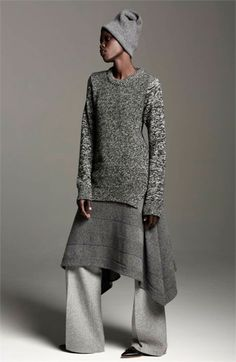 Ways to wear your Woolies for a high fashion look. Grace Bol for Sansovino 6 - Fall/Winter seen on Shades Of Blackness Knit Fashion, Look Fashion, Winter Fashion, Womens Fashion, Fashion Trends, High Fashion, Vetements Clothing, Black Fashion Designers, Quoi Porter