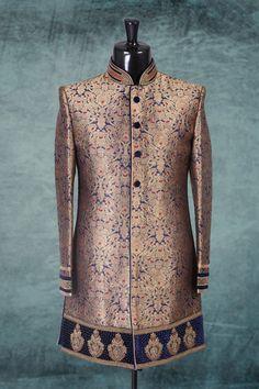 Ink #blue & #gold brocade #amazing jodpuri #sherwani with full sleeves -IW278