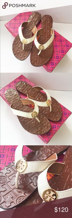 NIB Tory Burch thora leather thong sandal SZ 7 Brand new in box!!! 100% authentic. Come with original Tory Burch shoe box. No dust bag. Size 7.                                               ❌no trade ❌no lowballing offers!!! Tory Burch Shoes