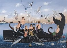 """RALPH EUGENE CAHOON, JR. , American, 1910-1982 """"Wool Shop Outing"""", depicting six mermaids knitting on top of a whale with view of a lighthouse and clipper ship on horizon. Above mermaids a flock of terns play with the yarn and below mermaids a school of fish play with skeins of yarn. Signed lower right """"R. Cahoon"""". Oil on masonite, 20"""" x 27½"""". Framed."""