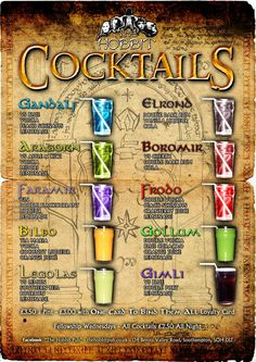 LotR cocktails at a place called the hobbit pub in the UK :D Party Drinks, Cocktail Drinks, Fun Drinks, Alcoholic Drinks, Beverages, Disney Themed Drinks, Virgin Cocktails, Hobbit Party, Vodka