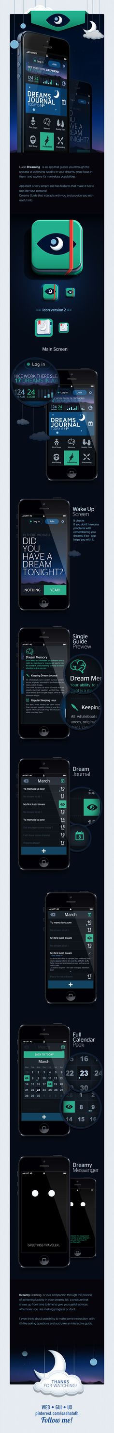 Lucid Dreaming APP by Michał Sambora, via Behance ••• iOS/Android app with dream journal and guides to achieve lucid dreams • #iphone #gui #andorid, BTW Download cool app(s) here: http://www.imobileappsys.com/promote/tryapps.php?id=pinterest