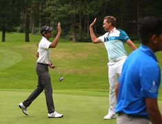 Ian Poulter having fun with a junior at the IJP Invitational