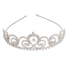 Mefeir Sliver Stylish Flower Style Design Rhinestone Tiara Crown Headband Comb Pin Wedding Bride Party Birthday Hair Accessories *** Click on the image for additional details.