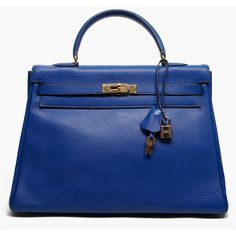 HERMES VINTAGE Blue Royale Ardennes Leather Kelly Tote found on Polyvore