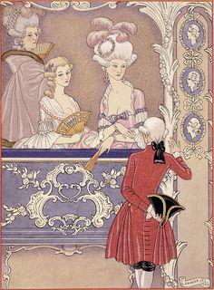 George Barbier  - Women in a Theater Box, illustration from 'Les Liaisons Dangereuses' by Pierre Choderlos de Laclos (1741-1803) published 1920s (pochoir print)