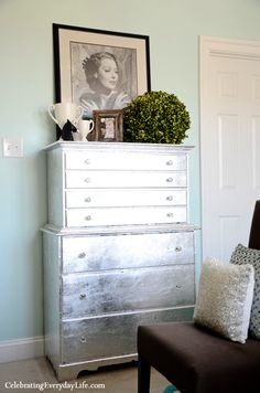 House of Turquoise: Celebrating Everyday Life with Jennifer Carroll - silver dresser - gorgeous! - just finished my first furn re-do in silver and wanting more silver!