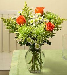 Orange and green flower arrangement