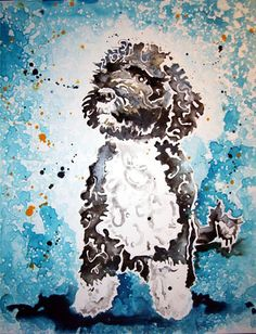 The First Dog -- Portrait of Bo, 2009, by Rachael Rossman @Matty Chuah White House   Nice watercolor. Did a nice job of providing depth and texture in the white space.