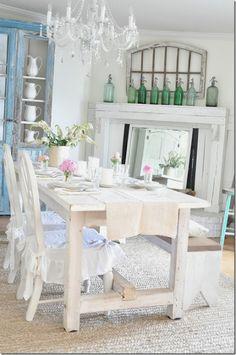 Becky Cunningham Home, Vintage Country Farmhouse, Radiant Living, home decor, dining room, seltzer bottles, table runner, farm table, hydrangeas, cabinet