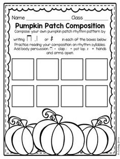 Rhythm Composition for the Elementary Music Room - Pumpkin Patch Rhythm…