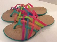 Crocs Sandals 8 Womens Huarache Multi Island Green Flip Flops Summer Beach #Crocs #FlipFlops
