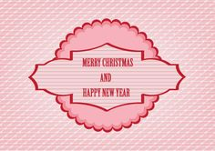 Sweet pink Christmas vector based on ping background with lines and pink badge design with Merry Christmas and Happy New Year text. Free vector download in Adobe Illustrator