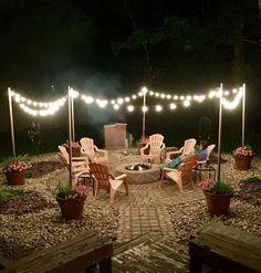 Diy Fire Pit, Fire Pit Backyard, Fire Pit Front Yard, Cool Fire Pits, Landscape Design, Garden Design, Landscape Bricks, Fence Design, Patio Design