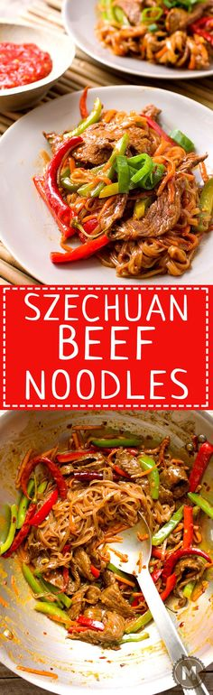 Szechuan Beef Noodles: This fiery recipe is a riff on the classic Chinese dish, Szechuan Beef. Same flavors, but turned into more of a noodle bowl situation. Addictively spicy and ready in 30 minutes!   macheesmo.com
