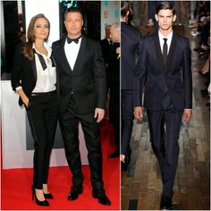 Angelina Jolie in Saint Laurent and Brad Pitt in Valentino - BAFTAs 2014