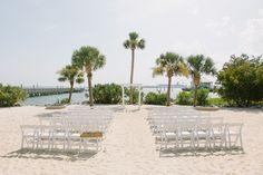 Beach Ceremony set up at Charleston Harbor Resort and Marina  photography by: lindseyamiller.com