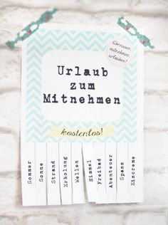 Urlaub ToGo {free printable} | titatoni ♥️ DIY