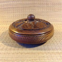 Very Pretty Carved Wood Bowl with Lid