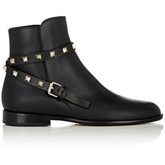 Valentino Women's Rockstud Ankle Boots (4,550 ILS) ❤ liked on Polyvore featuring shoes, boots, ankle booties, ankle boots, black, short heel boots, black stacked heel booties, black buckle booties, black boots and black booties