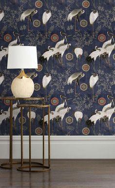 Tsuru Wallpaper Indigo by Mind The Gap Wallpaper Panels, Dark Wallpaper, Pattern Wallpaper, Kitchen Wallpaper, Asian Wallpaper, Amazing Wallpaper, Wallpaper Ideas, Mind The Gap, Japan Design