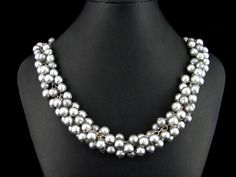 Glass pearl necklace designed by Jennie (my wife).  Selling it now for $79.00 Pearl Necklace Designs, My Wife Is, Grey Glass, Studios, Jewelry Design, Pearls, Gray, Ash, Beads