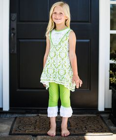 Loving this Trish Scully Child Green Damask Tunic & Leggings - Toddler & Girls on #zulily! #zulilyfinds