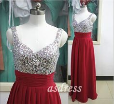 Sparkling burgundy ball gown floor length chiffon bridesmaid dresses with spaghetti straps sequined gown wedding dress wedding