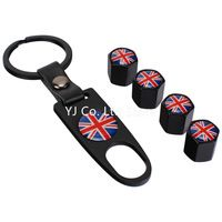 4-Piece/Pack Car Wheel Tyre Valve Caps with Keychain Hot Sale fit on all standard tire air valve National Flag Series