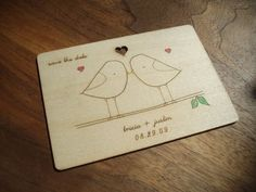 Save the Dates were laser engraved onto a thin sheet of plywood and then hand-painted by the bride!
