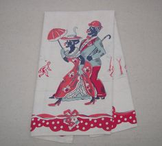 Vintage Black Americana Towel Couple Out on the by unclebunkstrunk