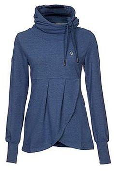 Stylish Cowl Neck Long Sleeve Solid Color Asymmetrical Sweatshirt For Women