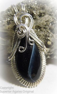Blue Tiger Eye Silver Wire Wrapped Pendant by superioragates, $45.00