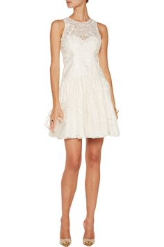 Marchesa NotteEmbroidered organza mini dress