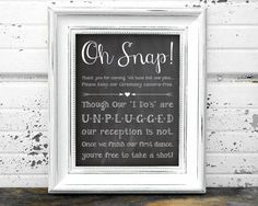 Do you want your Wedding Guests to be PRESENT at your wedding? Consider 'unplugging' your ceremony.  This printable chalkboard sign lets your guests know that cameras should be put away during the ceremony. Not only will this keep your guests' focus on you and not their electronics; it will also give your photographer the space they need to capture all your beautiful moments without distractions.