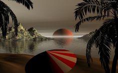 Tropiki, Morze, Skały, Palmy, Zachód, Słońca, Plaża, Parasol
