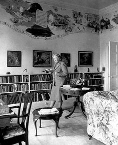 Agatha Christie reading in Greenway, her English summer home.