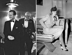 """""""Beyond the Sea"""" By Nicholas Foulkes  Left: Actor David Niven at a cocktail party on the Queen Elizabeth  Right: Marlene Dietrick arriving aboard the Normandie"""