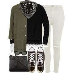 Sin título #2285 by hellomissapple on Polyvore featuring moda, Topshop, Converse, Yves Saint Laurent, MARC BY MARC JACOBS, ASOS, H&M, Ray-Ban and Wilfred Free