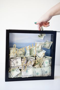 """Save for your honeymoon in style -- by making this darling DIY """"honey fund"""" frame!!!"""