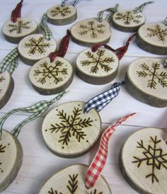 Set of 3 Hand-Etched Maple Snowflake Ornaments by BirchLandingHome