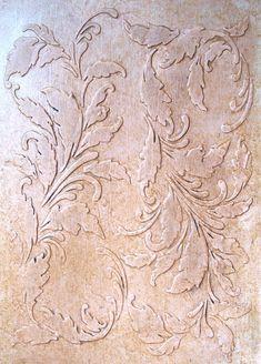 Die Romantik dieser erhöhten Putz Tapete Schablone ist unverkennbar. Bildlauf Blättern der Akanthus mit Wendungen und, die aussehen wie stattlich