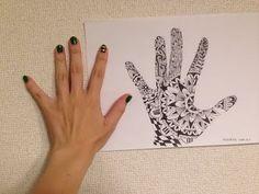 ゼンタングル 手 zentangle hand - YouTube